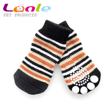 Hot sale stripe rubber anti-slip dog socks for dog and cat in wholesale