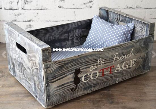 Grey Rustic wooden Cat bed-dog homes/ pet crates