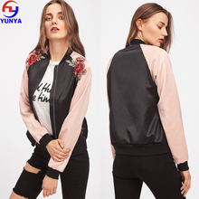 Women clothes wholesale satin custom embroidered rose varsity jacket winter bomber girls jacket