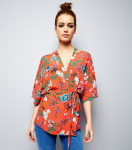 New Design All Over Red Floral Print Tie Waist Wrap Kimono Women Top