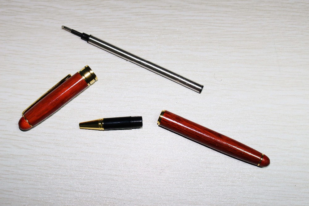 Red Wooden Pen with Gold part wood Gel ink pens Red Wooden ball pen with LOGO customized service and Factory price available