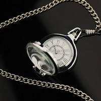 WP050 New Mens White Dial Transparent Face Pocket Watch