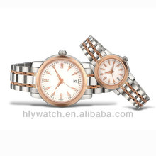 2014 Top Seller Vogue Brand 2 Tone Gift Set Watch for Couple with Single Date Display
