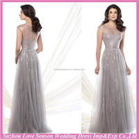 HM5010 New design with great price shinny sequins bodice tulle cap sleeve sheer top long dress grey mother of the bride dresses