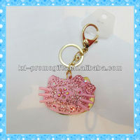 DKRK0269 lovely key chain fashion charming pink Hello Kitty animal crystal keychain