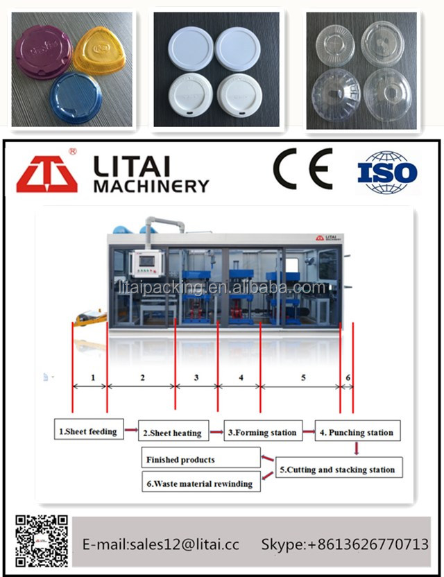 Low consumption automatic disposable plastic cup cover lid making machine with CE standard