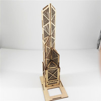 3D Wooden Puzzle Bank Of China Tower Educational Toy Building with LED Solar Ligh DIY solar puzzle toy