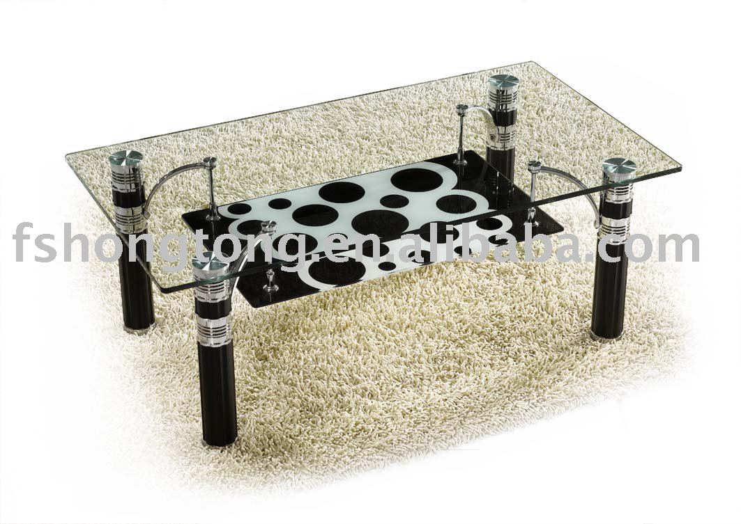 design glass coffee table with glass top and steel leg HT242