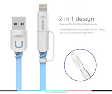 2 in 1 Micro USB Cable USAMS 1M Charging Mobile Phone Cables For iPhone 5 5S 6 ipad Charger ios Data For Samsung Galaxy Android
