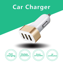 2017 Wholesale 5V 3.1A 12V-24V 3 Port USB Car Charger for SAMSUNG S6 S5 S4 Note5 4 3 2 LG iPhone HuaWei smartphone car-charger