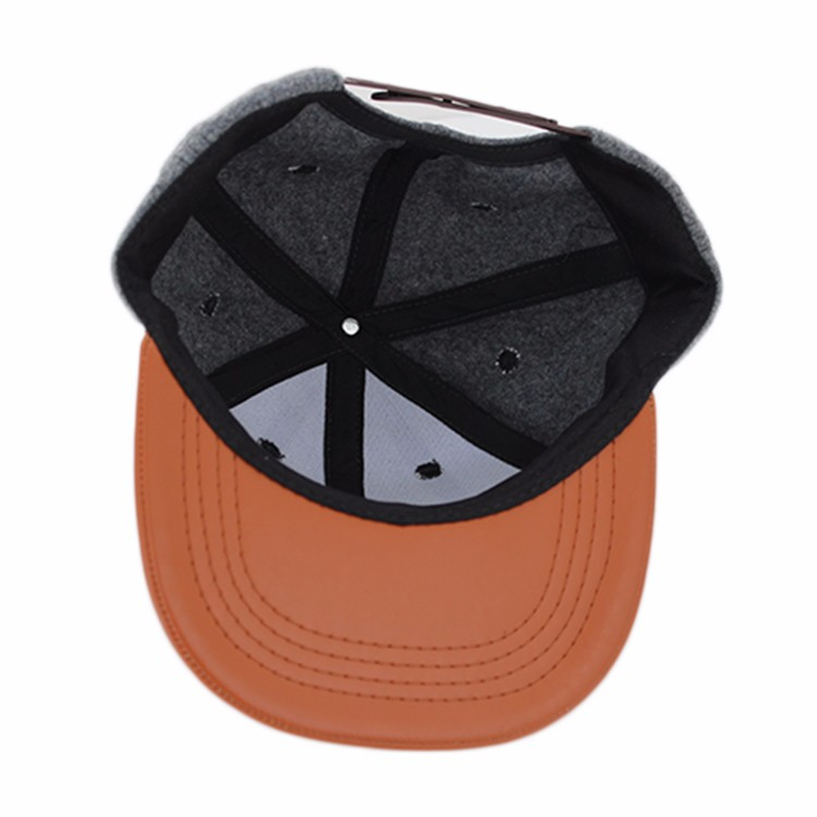 100% wool leather patch logo snapback caps with leather brim