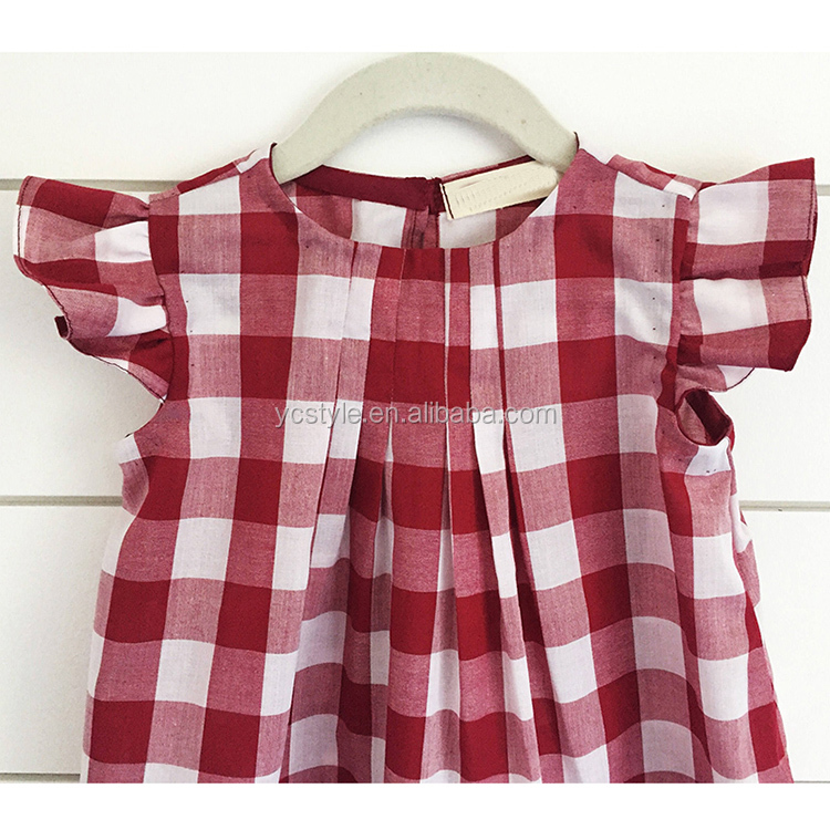 2019 Little girl's plaid dress, lace sleeves, fabric breathable and soft