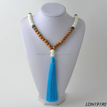 wooden beads tassel necklace with acrylic beads tassel long necklace