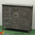 12 Drawers Shabby Grey Antique Solid Wood Side Cabinet