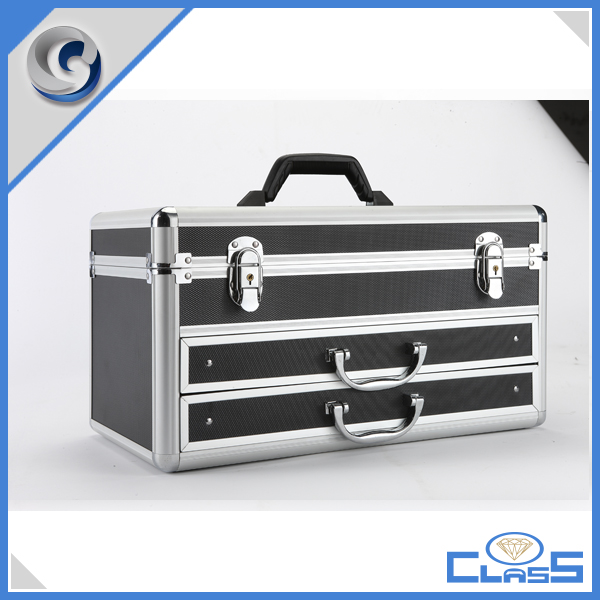 Packaging Boxes High Quality New Design Drawer Black Surface Multi-function Custom Aluminum tools case