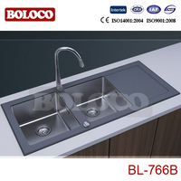 Abovecounter Double bowl glass panel stainless steel Kitchen sink BL-766B