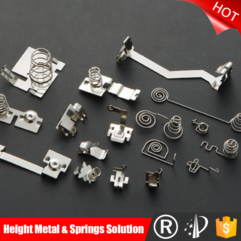 High precision custom stamping parts battery clips for toy parts / steel nickel plating battery contact clips