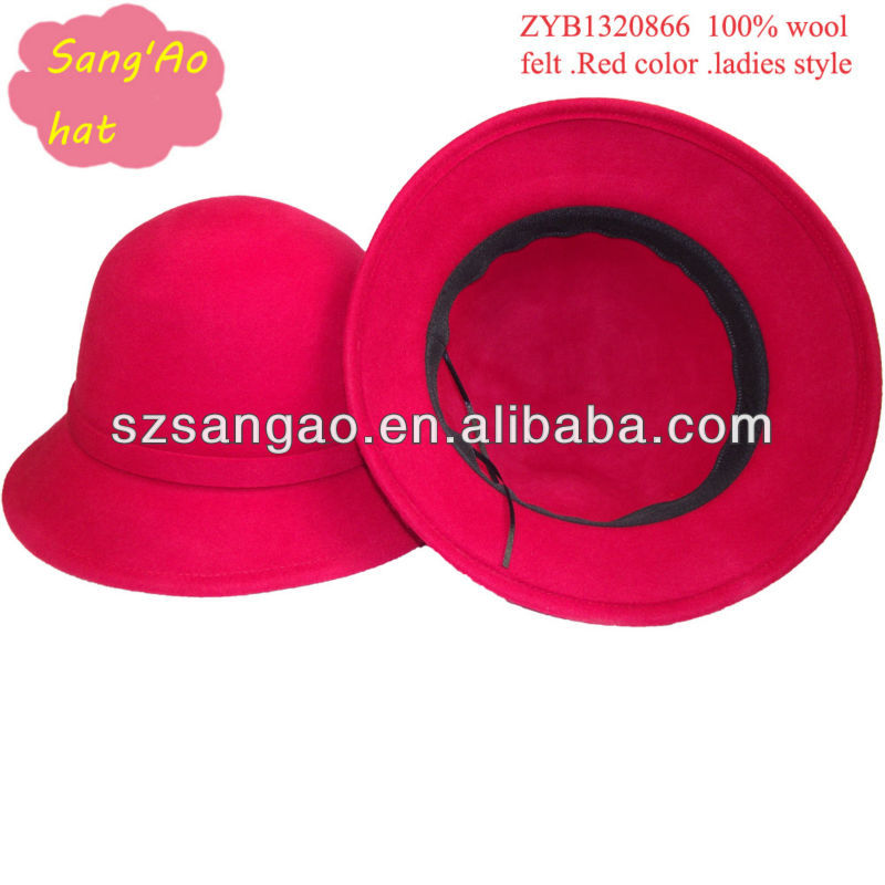 Wholesale/Customized Popular Red ladies cloche hats wool casual lana females wear cap100%wool for wedding/beach cap/summer cap