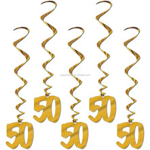 50th Birthday Golden Wedding Anniversary party Foil Hanging Swirl Decoration