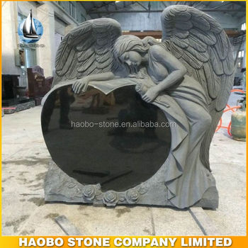 Haobo Stone American Style Black Granite Angel Headstones