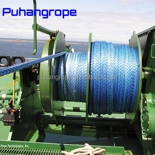 China factory wholesale 4 inch 12-Strand braided UHMWPE marine rope