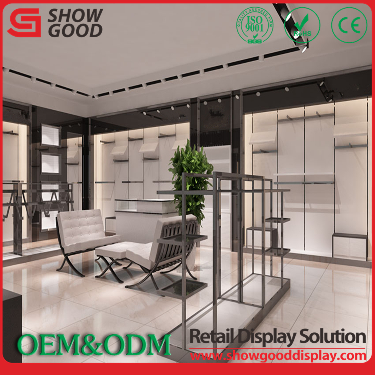 Fast Production Clothes Display Steel Showcase Design