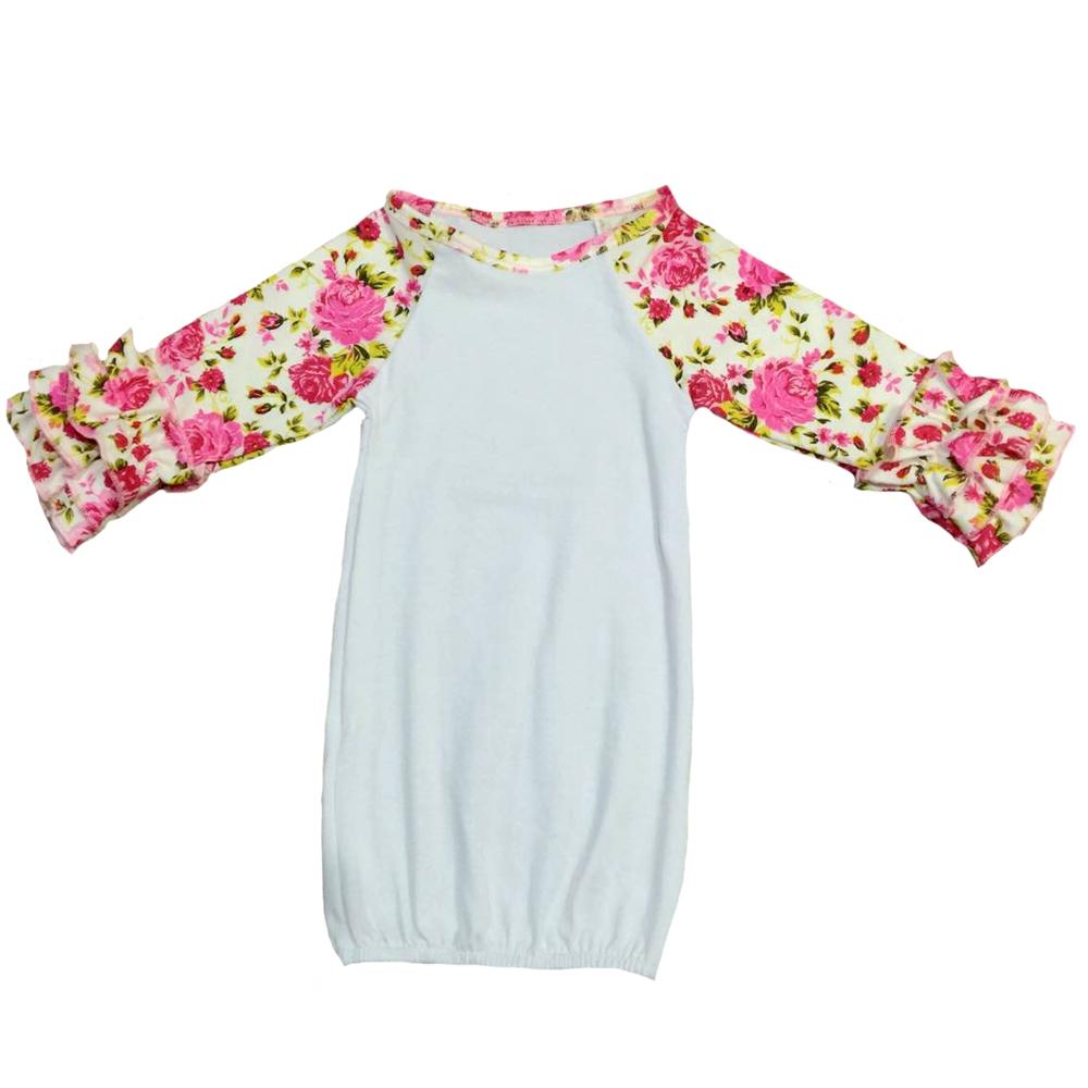 Infant Baby Gowns Sleeping Wear Pink Ruffle Raglan Gown Girl Dress ...