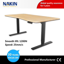 3 segments table adjustable for height adjustable desk with lifting column