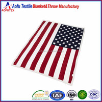 Wholesale American USA flag printing thickened double layer coral sherpa blanket for importor purchaser buyer agent