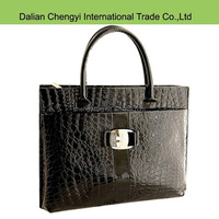 Newest Alligator Pattern black exquisite leather women tote bag