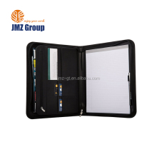 Black A4 Conference Folder Zipped Folio Case PU Business Organiser Leather Portfolios
