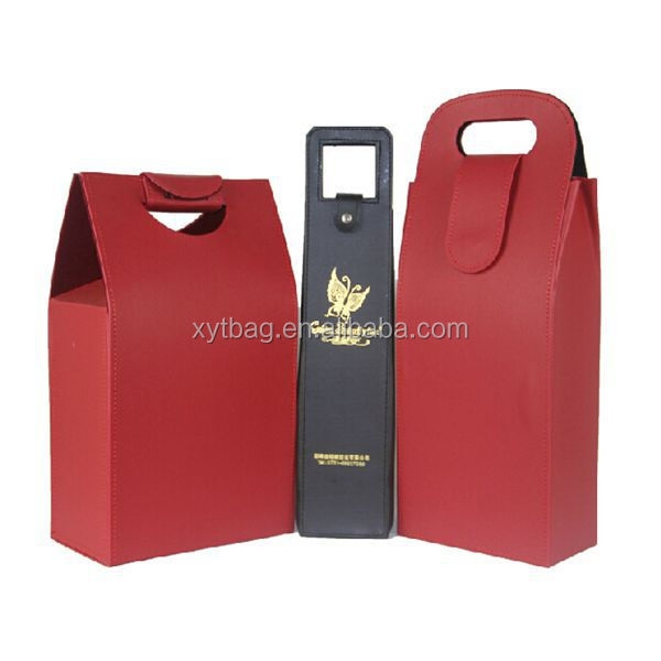 Unique Design 2 Bottles Leather Wine Carrier