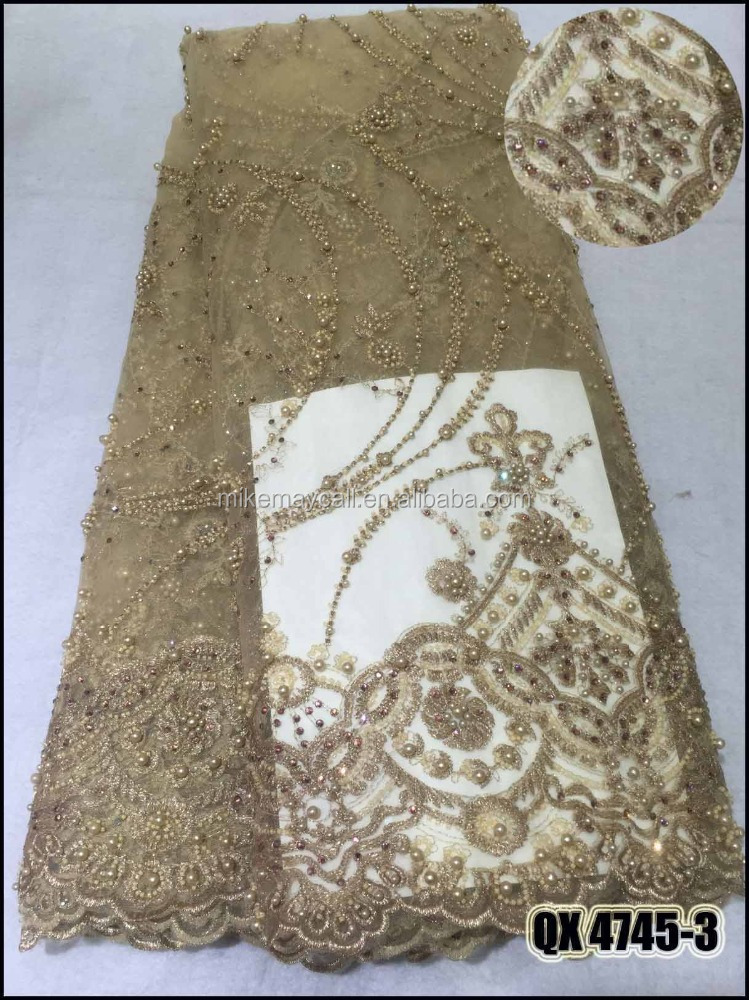 QX4745-3 latest nigeria beaded lace 2017/gold beaded lace <strong>fabric</strong>