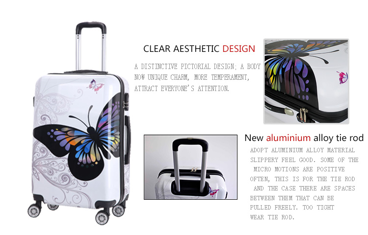 16 inch PC printing luggage Universal wheel trolley suitcases travel cases bag