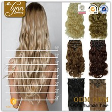 Wholesale 4 clips one piece clip in curly hair extension