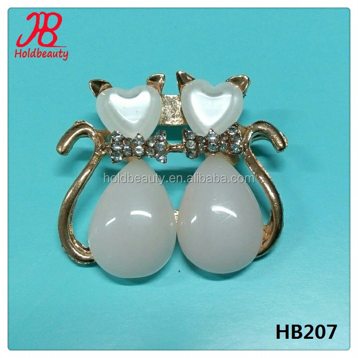 Factory OEM order metal decoration double cat rhinestone brooch