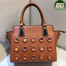Latest designer fashion handbags ladies colorful studded tote bag factory price from China SY8026