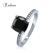 Wholesale 925 sterling silver Cushion Black sapphire CZ Solitaire ring R500366