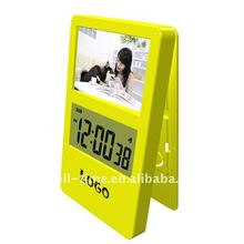 Desk digital clip LCD alarm calendar clock best for promotion gift meet CE and Rohs