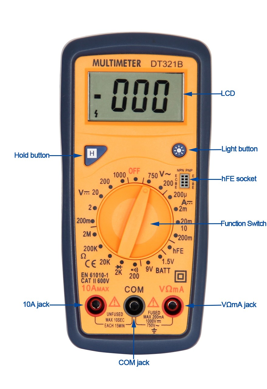 Digital multimeter with Battery Test DT321B Factory direct sale