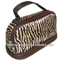 satin zebra beauty make up cosmetic bag