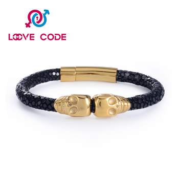 2016 fashion high class stingray leather bracelets with skull charms