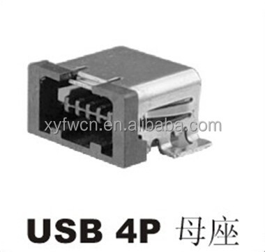 factory price mini usb 4p connector / 4 pin mini usb connector