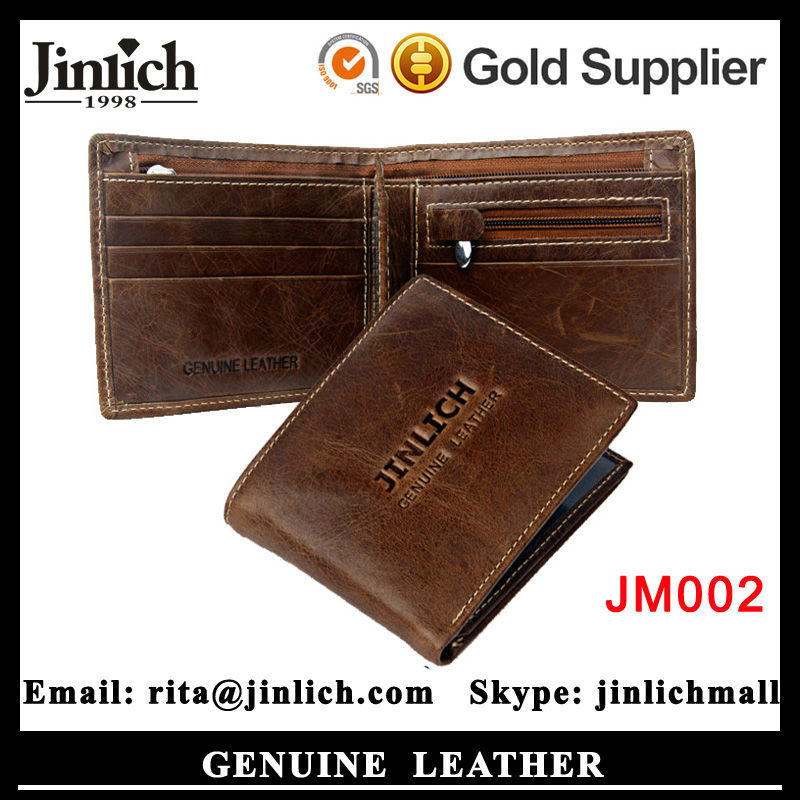 guangzhou factory oem handmade slim leather men's wallet