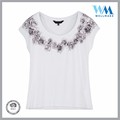 New Fashion dry-fit cap sleeves silk print viscose White t shirs