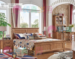 Guangdong oak solid wood carving bedroom furniture queen size bed