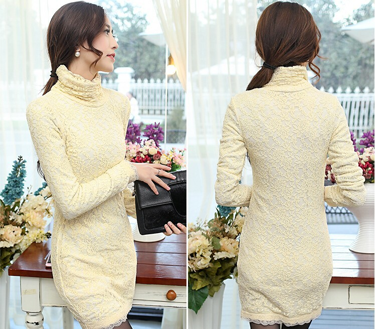 D37563A Korean fashion high collar slim ladies lace wrap dresses