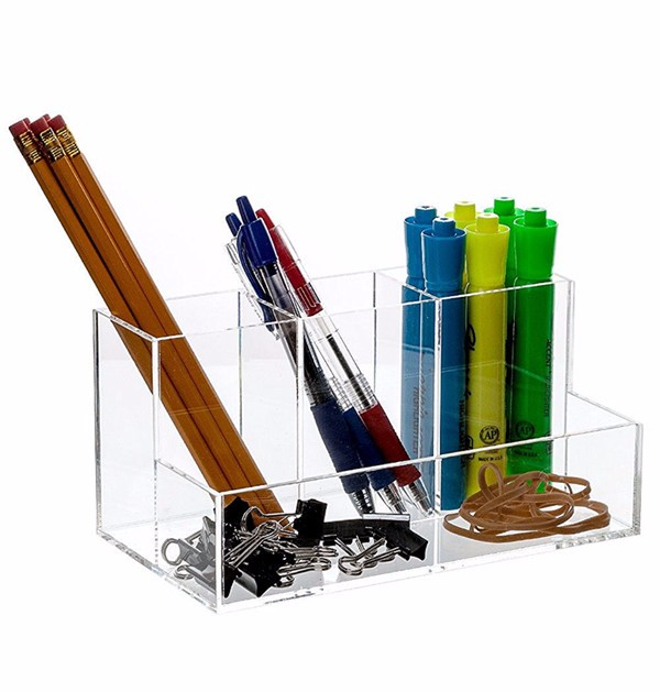 5 compartments acrylic pen holder