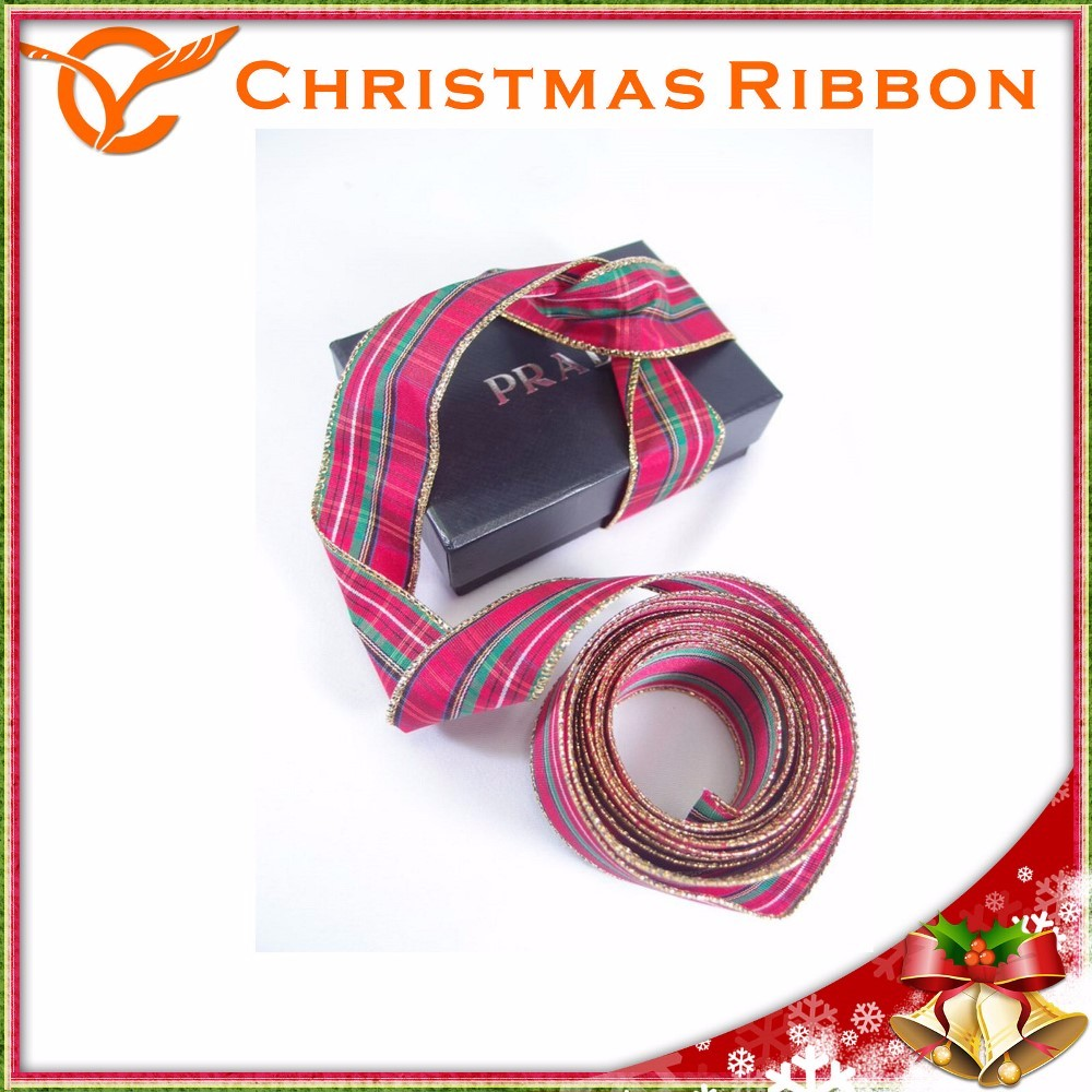 High Quality Golden Thread Sewed Christmas Riband With Wire