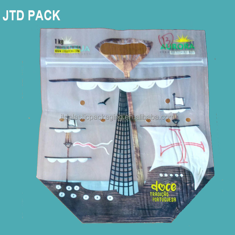 Qingdao JTD Manufacturer Wholesale Customized Handle Carrier Ziplock Green Plastic Bags With Perforated Holes For Vegetables